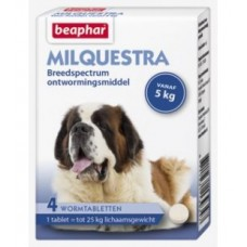 Beaphar Milquestra dog wormer - 4 beef flavoured tablets