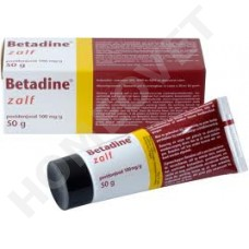 Betadine disinfectant ointment for wound care.